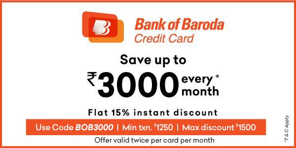 Flat 15% off using Bank of Baroda Credit Card